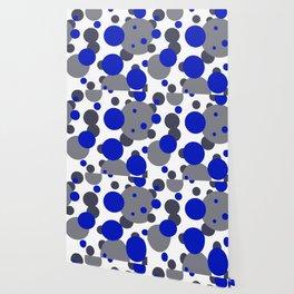 Bubbles blue grey- white design Wallpaper