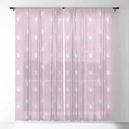 Pink Spider Pattern Sheer Curtain