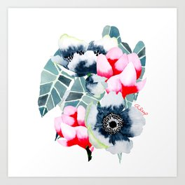 WHITE ANEMONE & MAGNOLIA Art Print