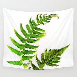 Fern on white Wall Tapestry