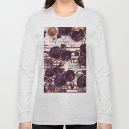 Watercolor ivory purple burgundy brown floral stripes Long Sleeve T-shirt