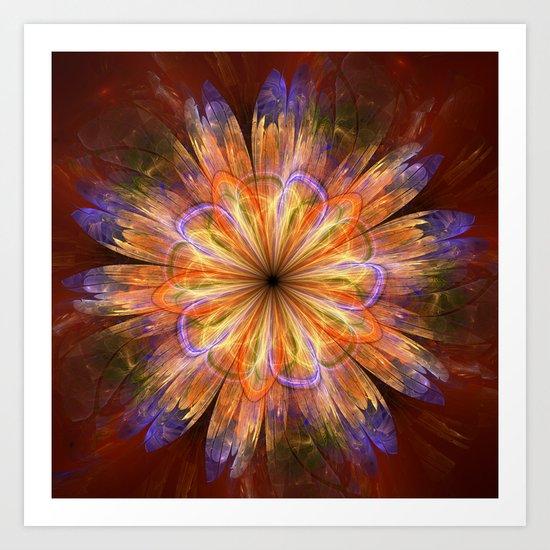 Artistic fantasy flower in summer colors Art Print