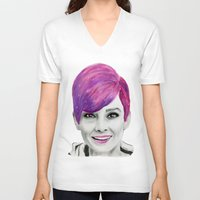 audrey V-neck T-shirts featuring Audrey  by MaarjaPB