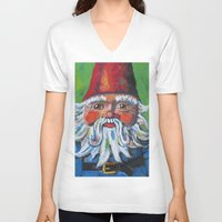 gnome V-neck T-shirts featuring Garden Gnome  by Juliette Caron