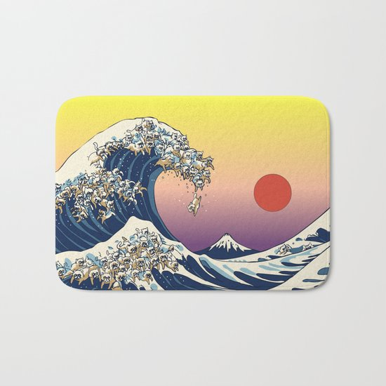 The Great Wave Of  Cat Bath Mat