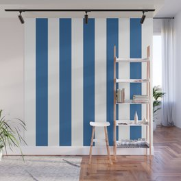 Lapis lazuli blue - solid color - white vertical lines pattern Wall Mural