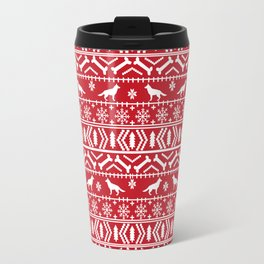 German Shepherd fair isle christmas pattern dog gifts dog breeds pet art holiday red and white Travel Mug