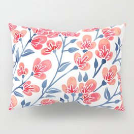 Cherry Blossoms – Melon & Navy Palette Pillow Sham