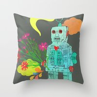 robot Throw Pillows featuring Robot by Elisandra