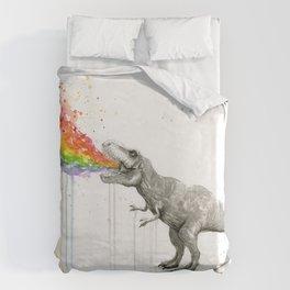 T-Rex Dinosaur Rainbow Puke Taste the Rainbow Watercolor Duvet Cover