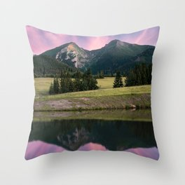 Two towers - landscape, nature, print, painting, wallpaper, slovakia Throw Pillow