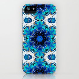 Ripples (Blue, White, Black & Gold Acrylic - 60° Kaleidoscope Pattern Small) iPhone Case
