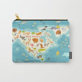 Animals world map, North America. Colorful cartoon vector illustration for children and kids. Presch Carry-All Pouch