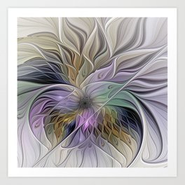 Abstract Flower, Colorful Floral Fractal Art Art Print