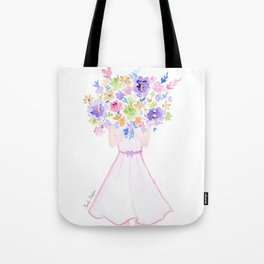 GIRL HOLDING BOUQUET OF FLOWERS / THANK YOU / CONGRATULATIONS / BIRTHDAY Tote Bag