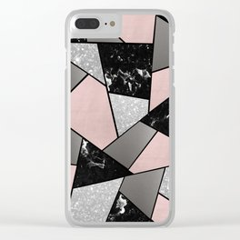 Black White Silver Blush Geometric Glam #1 #geo #decor #art #society6 Clear iPhone Case