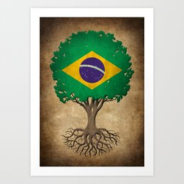 Vintage Tree of Life with Flag of Brazil Art Print