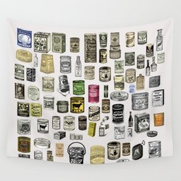 Vintage Victorian food cans Wall Tapestry