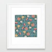 vintage floral Framed Art Prints featuring Floral Vintage by Juliana Zimmermann