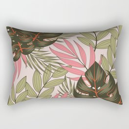 Original seamless tropical pattern with bright leaves and plants on a beige background. Exotic jungle wallpaper. Colorful stylish floral. Summer colorful hawaiian. Rectangular Pillow