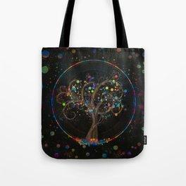 Golden Spiral Tree Color Paint Splatter #1 Tote Bag