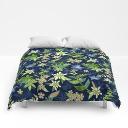 Alpine Flowers Blue - Gentian, Edelweiss Comforters