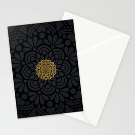 """Black & Gold Arabesque Mandala"" Stationery Cards"