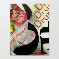 newspaper Canvas Prints featuring Abstract Newspaper by bmp528