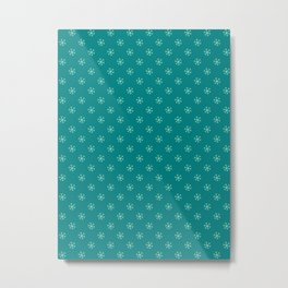 Magic Mint Green on Teal Green Snowflakes Metal Print