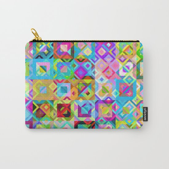 Multicolor Geometric Pattern Carry-All Pouch