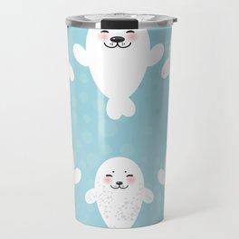 Funny white fur seal pups, cute seals with pink cheeks and big eyes. Kawaii albino animal Travel Mug