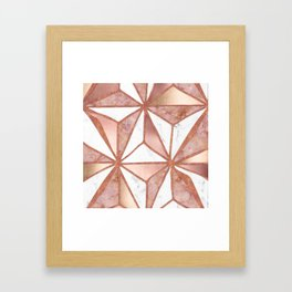 Rose Gold Marble Geometric Abstract Framed Art Print