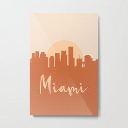 MIAMI FLORIDA CITY SUN SKYLINE EARTH TONES Metal Print