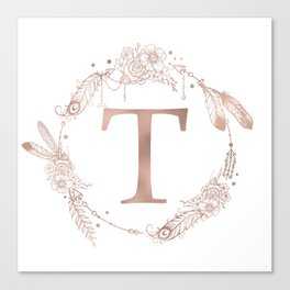 Letter T Rose Gold Pink Initial Monogram Canvas Print