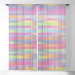 Thinking Dots . Digital Artwork Spectrum Fabric Pattern Sheer Curtain