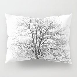 Fresh Snow - Minimalist Black and White Landscape Photography Pillow Sham