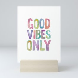 Good Vibes Only Watercolor Rainbow Typography Poster Inspirational childrens room nursery Mini Art Print