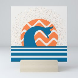 Hang Loose Wave // Sun Surfer Shaka Beach Retro Graphic Design Horizontal Daze Waves Mini Art Print