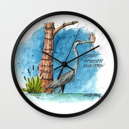Mississippi Great Blue Heron Wall Clock