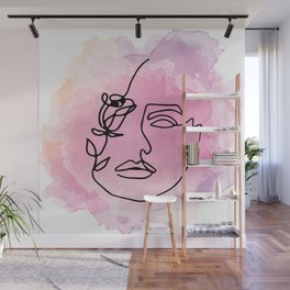 line art woman with flower Wall Mural
