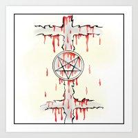 pentagram Art Prints featuring Pentagram by Anca Avram