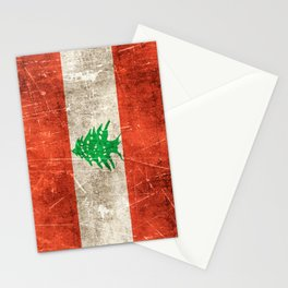 Vintage Aged and Scratched Lebanese Flag Stationery Cards