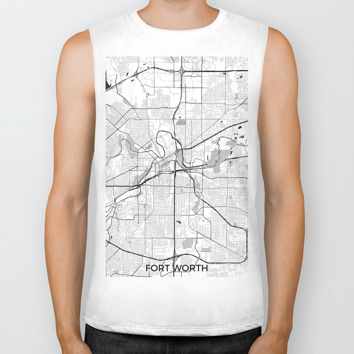 Fort Worth Map Gray Biker Tank