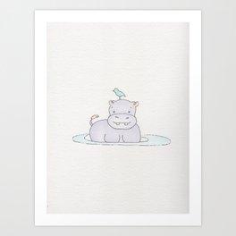 Watercolor Hippo Art Print