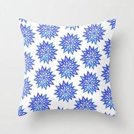 Symmetrical Shapes - Blue Heart Throw Pillow