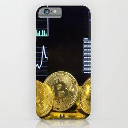 Bitcoin trio circuit market charts clean iPhone Case