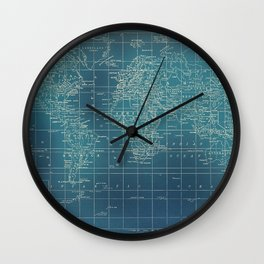 Grunge World Map Wall Clock