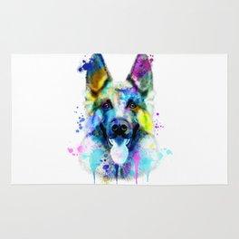 German Shepherd Watercolor, Watercolor Dog print, German Shepherd Print, German Shepherd Art Rug