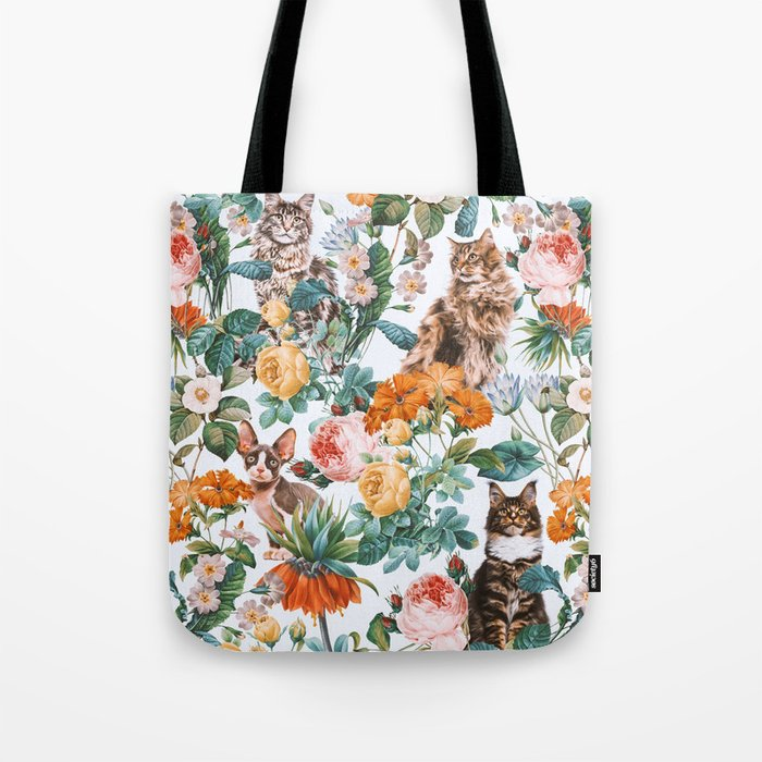 Cat and Floral Pattern III Tote Bag