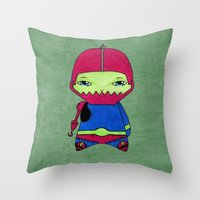 conan Throw Pillows featuring A Boy - Trap-Jaw by Christophe Chiozzi